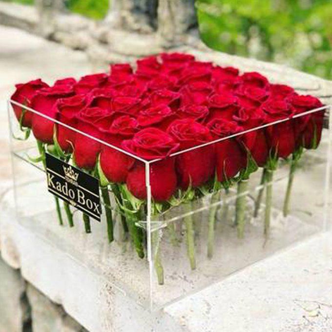 باکس شیشه ای ( پلکسی ) گل رز