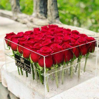 باکس گل شیشه ای 36 شاخه