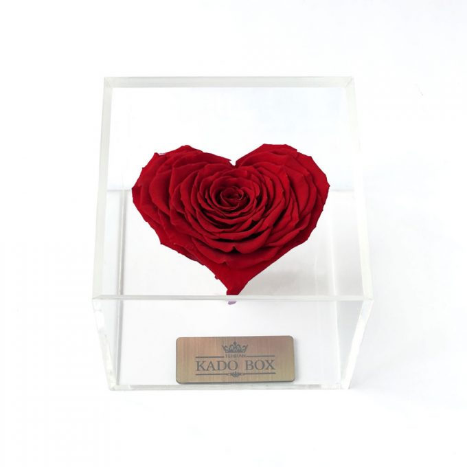 رز جاودان قلب قرمز کادوباکس برند رزامور Roseamor